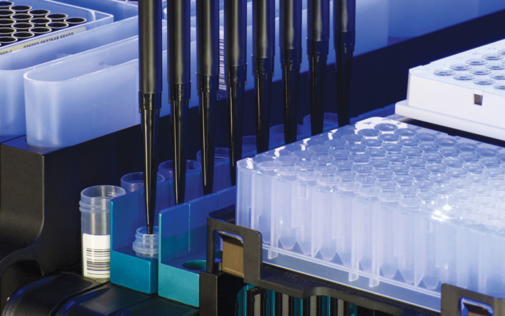 automated pipetting machine filling samples of liqud