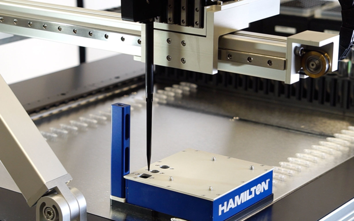liquid handling robot during xyz calibration