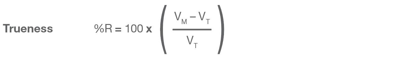 Formula for Trueness in methods to measure transferred liquid volumest